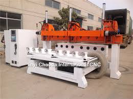 multi heads 5 axis rotary simultaneous cnc wood carving router