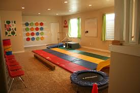 interior decoration play room in a white basement living room