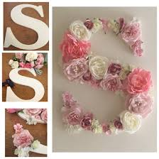 Decorated Wooden S Letter Decorated With Silk Flowers Wooden Sign Crafts