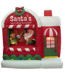 christmas inflatables outdoor three posts christmas santa workshop decoration
