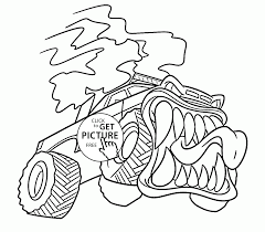 monster truck is very angry coloring page for kids transportation
