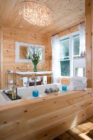 Cabin Bathroom Mirrors by Knotty Pine Walls In Bathroom Rustic With Ceiling Lighting
