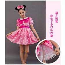 free shipping cosplay children pink minnie mouse costume set