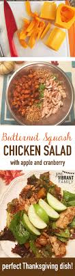 roasted butternut squash spinach salad with chicken apple
