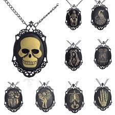 2017 skeleton sugar skull necklace black statement