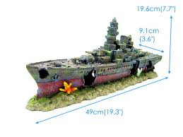 warship cave aquarium ornament 49cm battleship ship decor