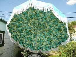 Blue And White Patio Umbrella Vintage Aqua Finkel Patio Umbrella W White Fringe Blue Roses