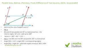 parallel lines bidmas proof of two squares igcse gcse grade