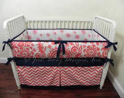 Navy Nursery Bedding Coral Crib Bedding Etsy