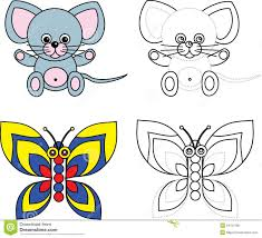coloring page book for kids mouse and butterfly royalty free