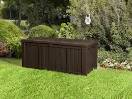 Plastic Patio Furniture Covers by Keter Rockwood Cushion Box Brown 570l Amazon Co Uk Garden