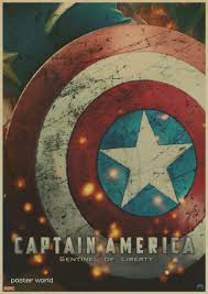 captain america the cuadros retro kraft paper poster movie drawing