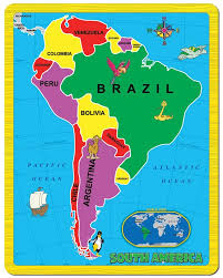 North Central And South America Map by Amazon Com Continent Puzzle South America 15 Piece Toys U0026 Games