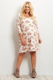 Light Pink Dress Plus Size Light Pink Printed 3 4 Sleeve Plus Size Dress