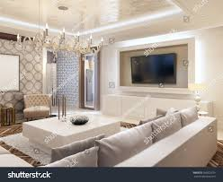 modern living room white colors integrated stock illustration