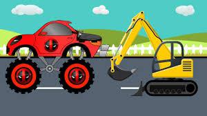 monster truck videos you tube deadpool monster truck for kids and jcb tractor for children youtube