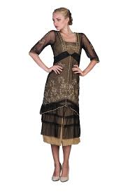 titanic tea party dress in black gold by nataya vintage style