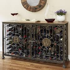 personalized 84 bottle antiqued steel wine jail console wine