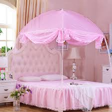 Pink Canopy Bed Three Open The Door Mongolia Mosquito Net Encryption Size