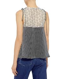 shell blouse marissa webb lace shell checkered silk blouse in check blouses