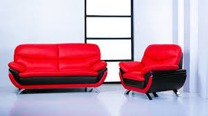 jonus sofa and loveseat set black red leather 1 878 00