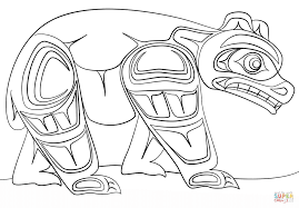 haida art bear coloring page free printable coloring pages