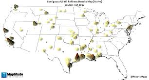 Refineries In Usa Map by Contiguous Us Oil Refinery Density Map Active U2013 Metricmaps