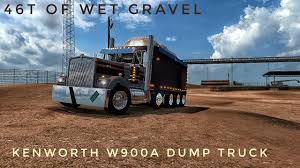 kenworth k series ats v1 6 kenworth w900a dump truck with 46t of gravel ats mods