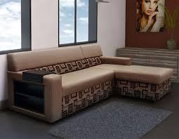 canapé angle convertible lit canapé d angle convertible tissu marron motifs avec coffre