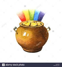 pot of gold coins watercolor illustration on white stock photo