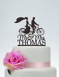 bicycle cake topper mr and mrs cake topper with last name and groom on bike