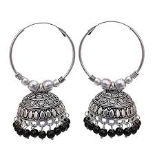 metal earings lucky jewellery designer black tone black metal oxidised silver