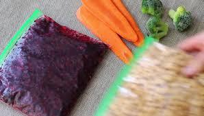 Freezing Root Vegetables - plastic zipper bags of frozen vegetables freezing vegetables is a