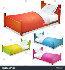 cartoon bed set illustration set cartoon stock vector 142549906