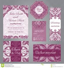 Invitation Card With Rsvp Wedding Set In Vintage Ornamental Style Invitation Save The Date