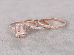wedding set 1 2 carat emerald cut morganite wedding set diamond bridal ring