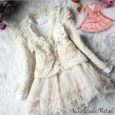 2017 kids baby girls winter dress beads lace coat jacket set party
