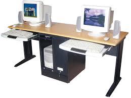 two computer workstation desk corner tower computer computer