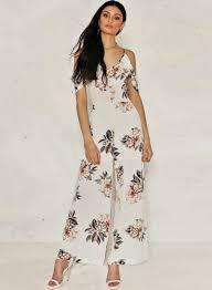 white wide leg jumpsuit shoulder floral printed ruffle wide leg jumpsuit azbro com