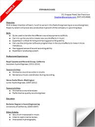 engineering resume exles internship audio engineer resume sle resume exles pinterest audio