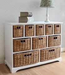 Drawer Storage Units Tetbury Wide Storage Chest With Wicker Baskets Large Storage Unit