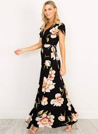 maxi dress with sleeves women s v neck sleeve floral high slit maxi dress roawe