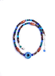 now selling blue eye necklace with hand painted blue eye good