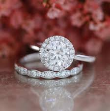 scalloped wedding band forever one moissanite engagement ring and scalloped diamond
