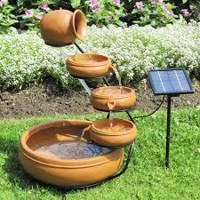 flower pot solar light outdoor solar water fountain with cascading terracotta pots