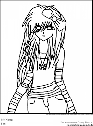 awesome hard coloring pages with emo coloring pages