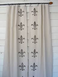Fleur De Lis Curtains Stenciled Canvas Drapes Fleur De Lis Painted Curtains