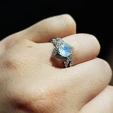 ring set moonstone bridal set rainbow moonstone