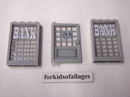 lego bank decorated windows and door w open sign gray frames