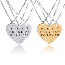 best friends heart necklace images Best friends forever bff necklaces for 2 gold silver plated heart jpg